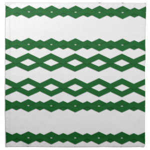 Green and White Zigzag Design Napkins