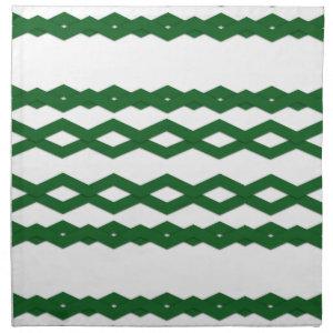 Green and White Zigzag Design Napkins