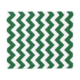 Green and White Zigzag Fleece Blanket