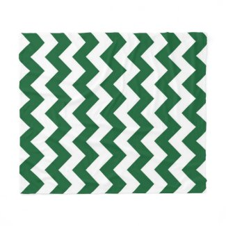 Green and White Zigzag Fleece Blanket
