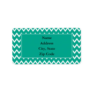 Green and White Zigzag Pattern Address Label