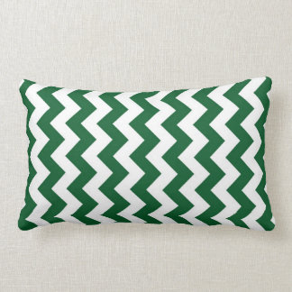 Green and White Zigzag Throw Pillow