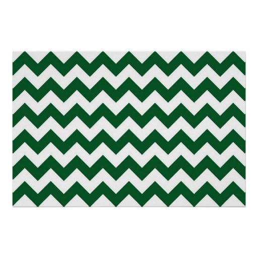 Green and White Zigzag Poster