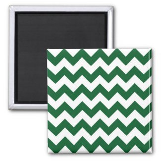 Green and White Zigzag Refrigerator Magnets
