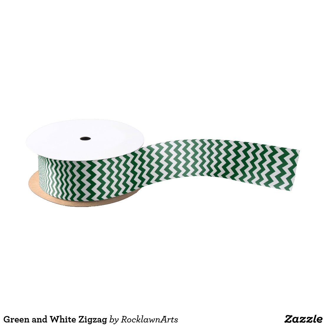Green and White Zigzag Satin Ribbon