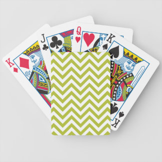 Green and White Zigzag Stripes Chevron Pattern Bicycle Playing Cards