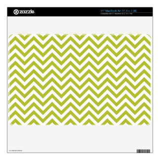 Green and White Zigzag Stripes Chevron Pattern Decal For MacBook