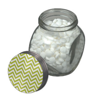 Green and White Zigzag Stripes Chevron Pattern Glass Jars