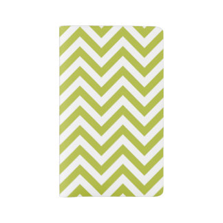 Green and White Zigzag Stripes Chevron Pattern Large Moleskine Notebook