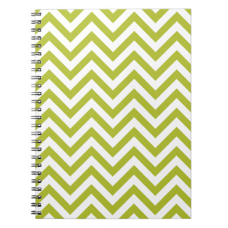 Green and White Zigzag Stripes Chevron Pattern Notebook