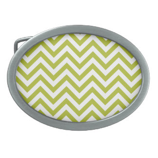 Green and White Zigzag Stripes Chevron Pattern Oval Belt Buckle