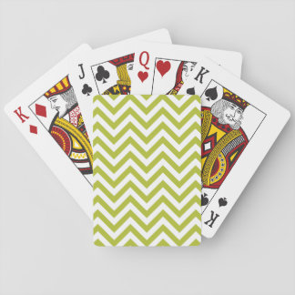Green and White Zigzag Stripes Chevron Pattern Playing Cards