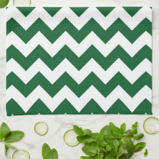 Green and White Zigzag Towel