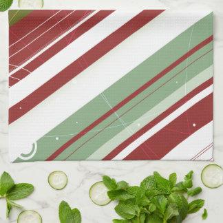 Green and Wine Modern-Retro Stripes with Monogram Kitchen Towel