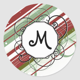 Green and Wine Modern-Retro Stripes with Monogram Classic Round Sticker