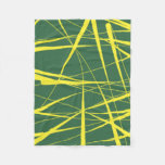 Green and Yellow Abstract Lines Fleece Blanket
