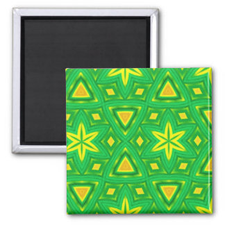 Green and yellow abstract pattern 2 inch square magnet