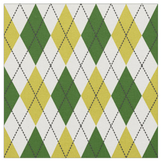 Green and Yellow Argyle Pattern Fabric