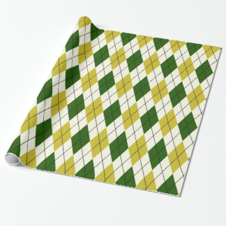 Green and Yellow Argyle Pattern Wrapping Paper