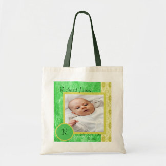 Green and Yellow Baby Boy Birth Announcement Tote Bag