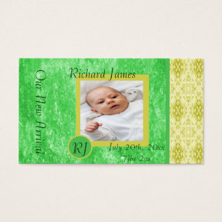 Green and Yellow Baby Boy Birth Announcement Business Card