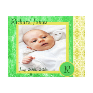 Green and Yellow Baby Boy Birth Announcement Canvas Print