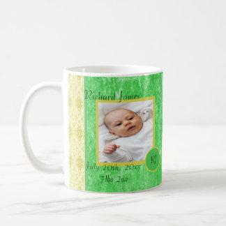 Green and Yellow Baby Boy Birth Announcement Coffee Mug