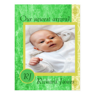 Green and Yellow Baby Boy Birth Announcement Postcard