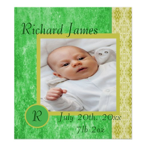 Green and Yellow Baby Boy Photo Poster