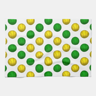 Green and Yellow Basketball Pattern Kitchen Towel