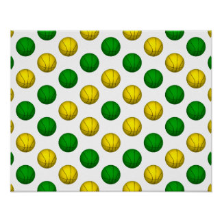 Green and Yellow Basketball Pattern Poster