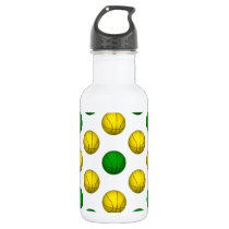 Green and Yellow Basketball Pattern Stainless Steel Water Bottle