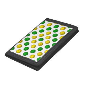 Green and Yellow Basketball Pattern Trifold Wallet