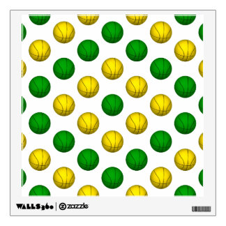Green and Yellow Basketball Pattern Wall Sticker