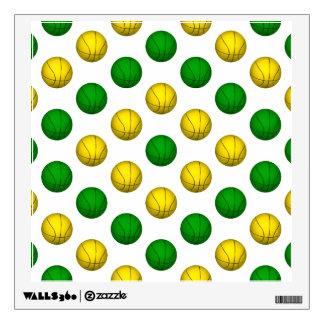 Green and Yellow Basketball Pattern Wall Sticker