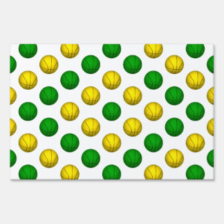 Green and Yellow Basketball Pattern Lawn Sign