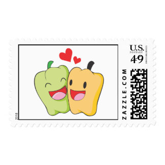 Green and Yellow Bell Pepper Lovers Postage Stamp