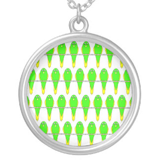 Green and Yellow Bird Pattern. Parakeets. Round Pendant Necklace