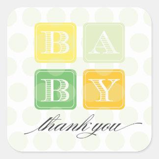 Green and Yellow Blocks Baby Shower Favor Sticker