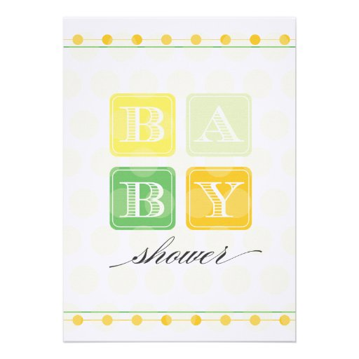 Green and Yellow Blocks Baby Shower Invitation