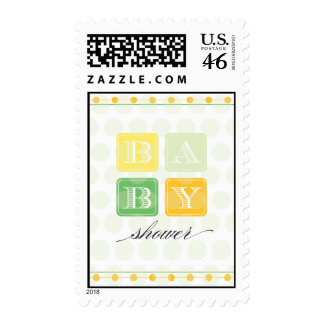 Green and Yellow Blocks Baby Shower Postage Stamp