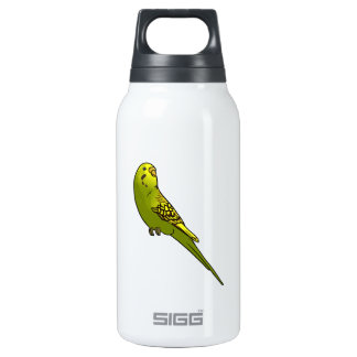 Green and yellow budgie insulated water bottle