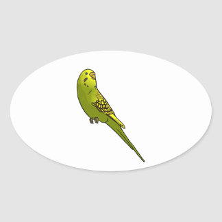 Green and yellow budgie oval sticker