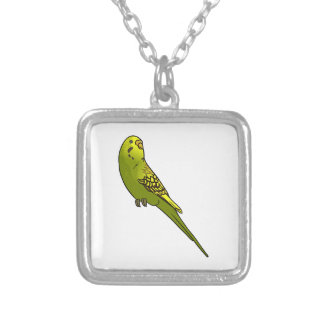 Green and yellow budgie square pendant necklace
