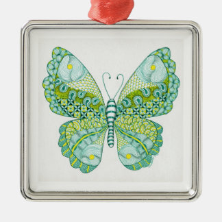 Green and Yellow Butterfly Metal Ornament