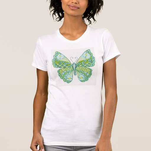 Green and Yellow Butterfly T Shirt