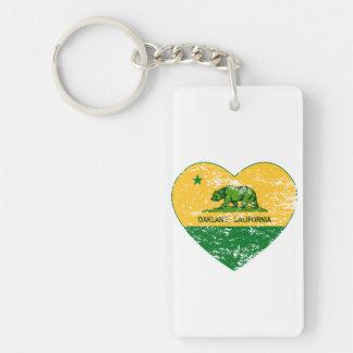 green and yellow california flag oakland heart keychain