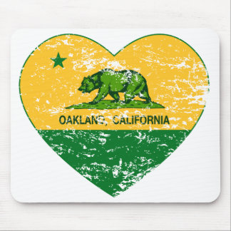 green and yellow california flag oakland heart mouse pad