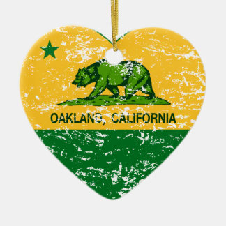 green and yellow california flag oakland heart Double-Sided heart ceramic christmas ornament
