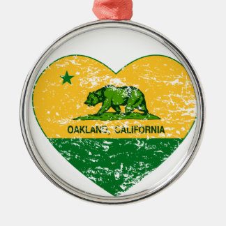 green and yellow california flag oakland heart round metal christmas ornament